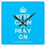 [Crown] keep calm and pray on  Wall Clocks