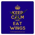 [Crown] keep calm and eat wings  Wall Clocks