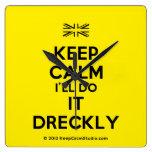 [UK Flag] keep calm i'll do it dreckly  Wall Clocks