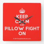 [Crown] keep calm and pillow fight on  Wall Clocks