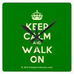 [Crown] keep calm and walk on  Wall Clocks