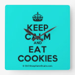 [Crown] keep calm and eat cookies  Wall Clocks