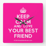 [Crown] keep calm and love your best friend  Wall Clocks