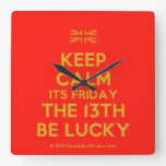 [UK Flag] keep calm its friday the 13th be lucky  Wall Clocks