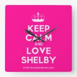 [Knitting crown] keep calm and love shelby  Wall Clocks