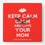 [Two hearts] keep calm calm and love your mom  Wall Clocks