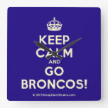 [Crown] keep calm and go broncos!  Wall Clocks