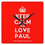 [Crown] keep calm and love paul  Wall Clocks