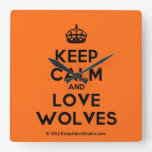 [Crown] keep calm and love wolves  Wall Clocks