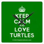 [Crown] keep calm and love turtles  Wall Clocks