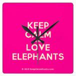 keep calm and love elephants  Wall Clocks