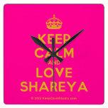 [Crown] keep calm and love shareya  Wall Clocks