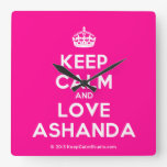 [Crown] keep calm and love ashanda  Wall Clocks