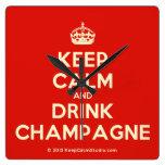 [Crown] keep calm and drink champagne  Wall Clocks