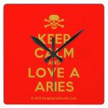 [Skull crossed bones] keep calm and love a aries  Wall Clocks