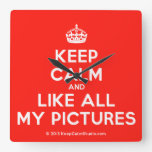 [Crown] keep calm and like all my pictures  Wall Clocks