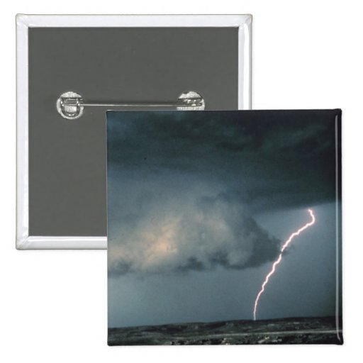 Wall cloud with lightning pinback button