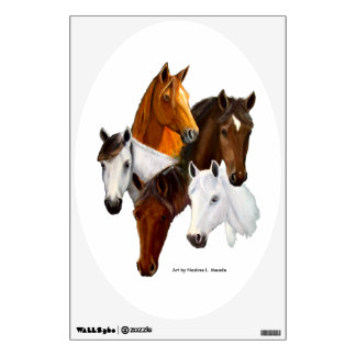 Wall Decal, 5 Horse Heads Wall Sticker