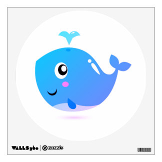 Wall decal circle : With marine whale, blue