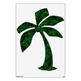 Wall Decal Coconut Tree with green sunflowerdesign