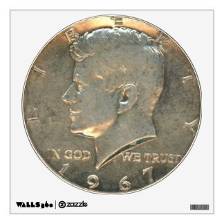 Wall Decal - Head of Half Dollar 1967 Silver Coin