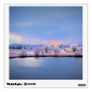 Wall Decal, Icy Pond and Willows in Pastel Wall Sticker
