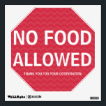 """Wall Decal No Food Allowed<br><div class=""""desc"""">No food allowed, thank you for your cooperation. Allergy friendly area wall decal. Make it very clear that the area, lunch room, home, classroom or other space is free of all food products. Reusable sign with bright white letters on red chevron striped background. Stop sign shape is large and easy...</div>"""