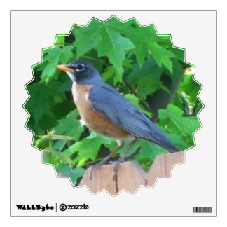 Wall Decal--Robin on a Fence Wall Sticker