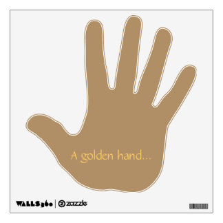 Wall decal with a golden hand