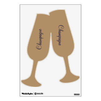 Wall decal with golden champagneglasses