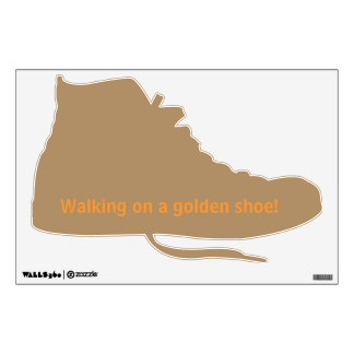 Wall decal with golden sportshoes