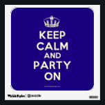 """Wall Decals<br><div class=""""desc"""">Based on the original Keep Calm and ...  poster this cream and blue Keep Calm and Party On Wall Decal features a custom designed font that matches the original closely.</div>"""