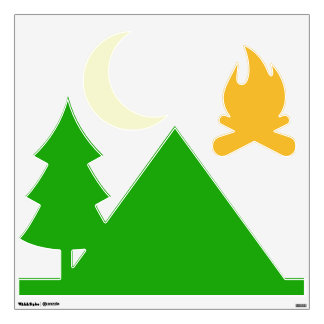 Wall deco, camping. fire, tree, tent and crescent wall graphics