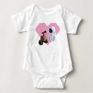 WALL-E and Eve Pixel Heart Baby Bodysuit