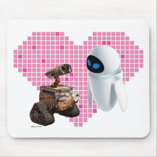 WALL-E and Eve Pixel Heart Mouse Pad