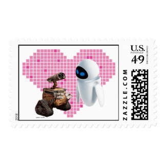WALL-E and Eve Pixel Heart Postage