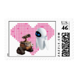 WALL-E and Eve Pixel Heart Postage Stamps