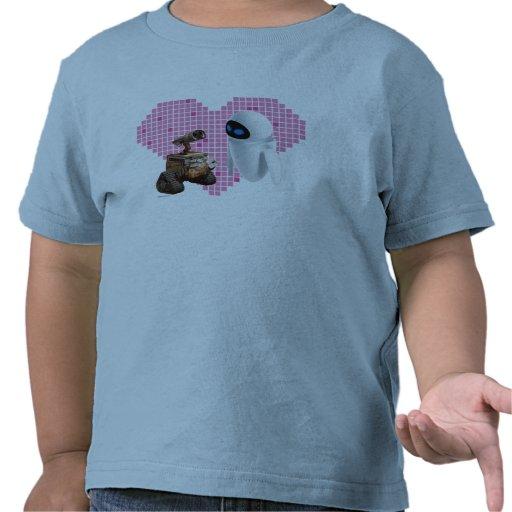 WALL-E and Eve Pixel Heart Tee Shirt