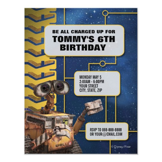 Wall E Birthday Invitation Zazzle Com