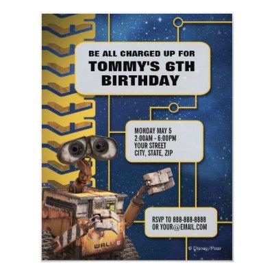 WALL-E Birthday Invitation 4.25
