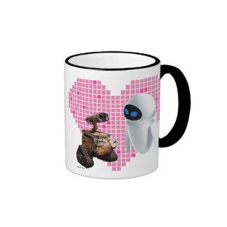 WALL-E y corazón del pixel de Eve Taza De Dos Colores