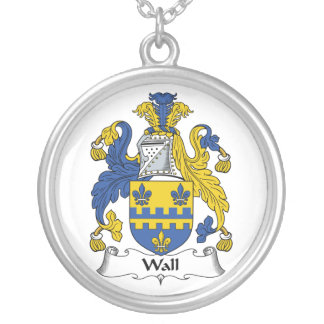 Wall Family Crest Round Pendant Necklace