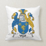 Wall Family Crest Throw Pillow