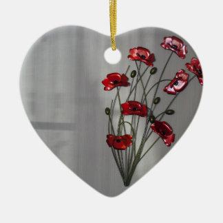 Wall flower ceramic ornament