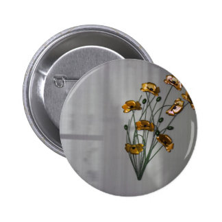 Wall Flower in Gold Pinback Button