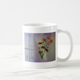 Wall flower with textured colour background coffee mug