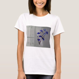 Wall flowers Blue on texture background T-Shirt