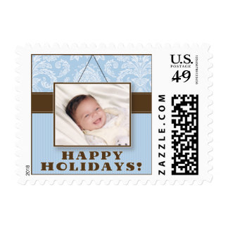 Wall Frame Happy Holidays Postage (blue)