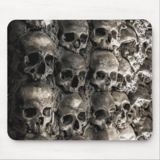 Wall Full Of Skulls And Bones In The Bone Chapel Mouse Pad