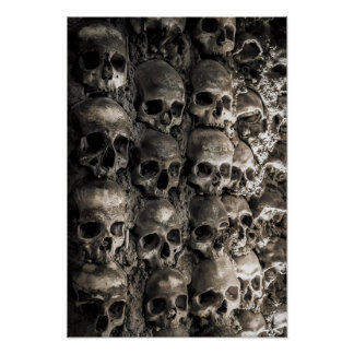 Wall Full Of Skulls And Bones In The Bone Chapel Poster